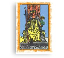 Queen Of Wands Tarot Card Blue Canvas Print