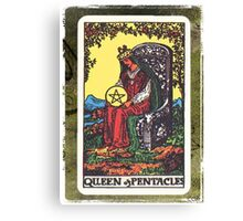 Queen Of Pentacles Tarot Card Fortune Teller Canvas Print