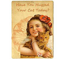 Victorian Girl Cat Love Hug Photographic Print