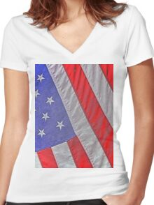 Flag of USA Women's Fitted V-Neck T-Shirt