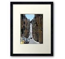 Narrow Streets of Malta with Traditional Houses and Balconies Framed Print