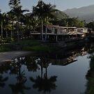 River landscape with mountains and jungle - Paisaje del rio con montañas y selva by Bernhard Matejka