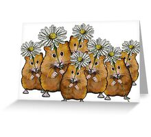 Hamster Group with Daisies, Cute, Whimsical Art Greeting Card