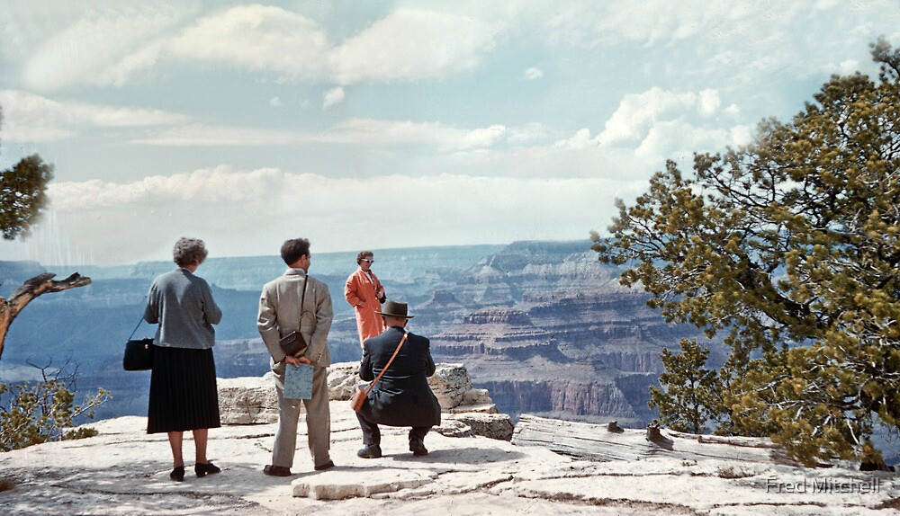 People on Grandeur Point Grand Canyon  19570429 0023 by Fred Mitchell