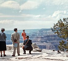 People on Grandeur Point Grand Canyon  195704290023 by Fred Mitchell