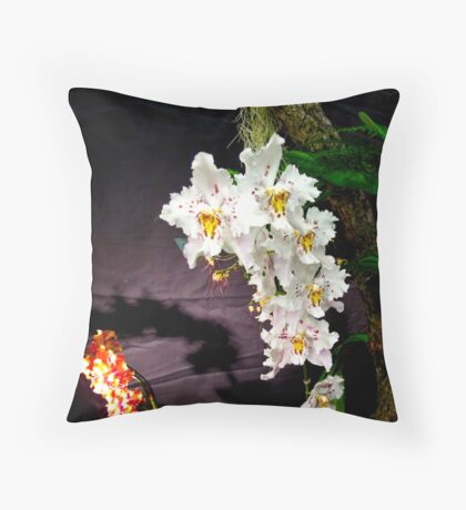 Cream Orchids Throw Pillow