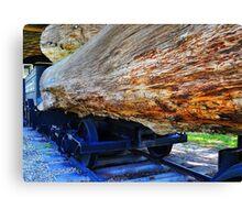 Train Hauling Logs Canvas Print