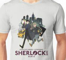 Sherlock NYC - SCREENING - Day (Purple Logo) Unisex T-Shirt
