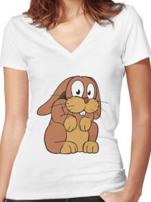 Cute cartoon rabbit with big eyes Women's Fitted V-Neck T-Shirt