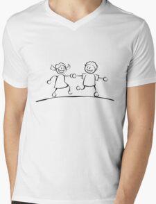 Kids running hand in hand (black and white) Mens V-Neck T-Shirt