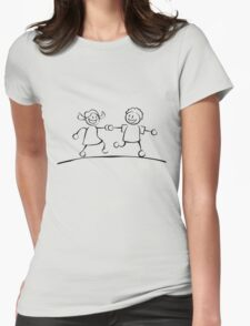 Kids running hand in hand (black and white) Womens Fitted T-Shirt
