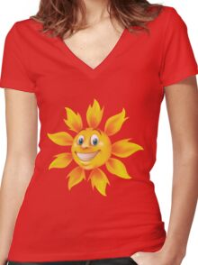 Cute smiling sun Women's Fitted V-Neck T-Shirt
