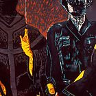 Two Men Woodcut by Tyler Wainright