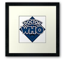 Doctor Who Diamond Logo Blue Black Bars Framed Print