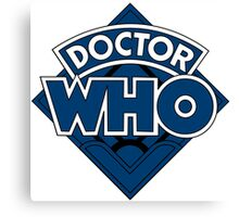 Doctor Who Diamond Logo Blue Black Bars Canvas Print