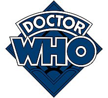 Doctor Who Diamond Logo Blue Black Bars Photographic Print