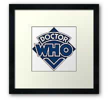 Doctor Who Diamond Logo Blue White Lines. Framed Print