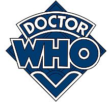 Doctor Who Diamond Logo Blue White Lines. Photographic Print