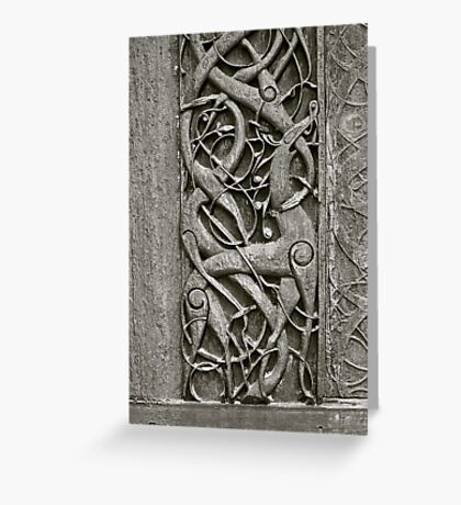 """Viking Age  typical animal-ornamentation, the so called """"Urnes style"""" of animal-art. Urnes Stave Church (Norwegian: Urnes stavkirke).   North portal deatail. by Brown Sugar. Views (186) Favs (2)  Thx! Greeting Card"""