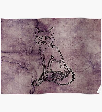 Knotwork Fox Blueberry Poster