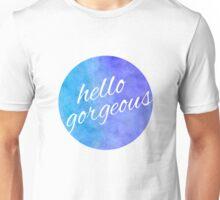 Watercolor Hello Gorgeous Blue and Purple Unisex T-Shirt