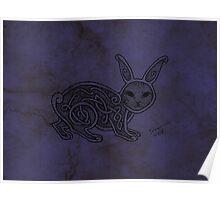 Knotwork Rabbit Blue Poster