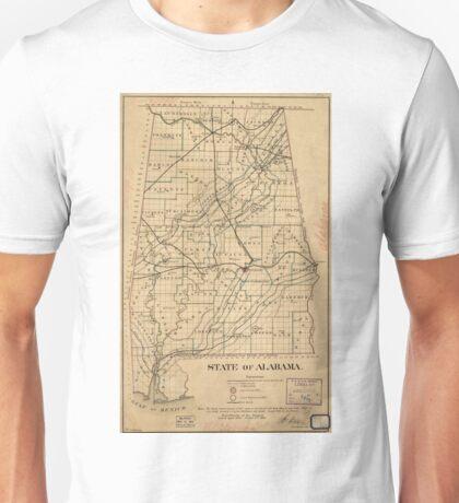 Vintage Map of Alabama (1866) Unisex T-Shirt