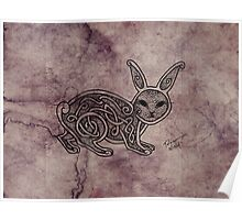 Knotwork Rabbit Blueberry Poster