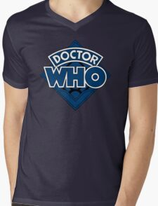 Doctor Who Diamond Logo Blue Black Bars Mens V-Neck T-Shirt