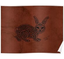 Knotwork Rabbit Red Poster