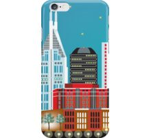 Nashville, Tennessee - Horizontal Retro Travel Themed Skyline Art by Loose Petals iPhone Case/Skin