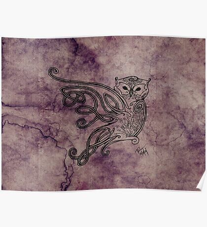 Knotwork Owl Blueberry Poster