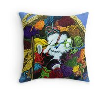 Knitter's Helper - cat oil painting Throw Pillow