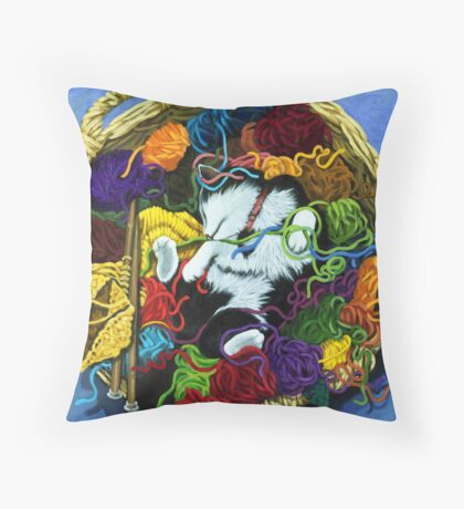 Knitter's Helper - cat oil painting Throw Pillow