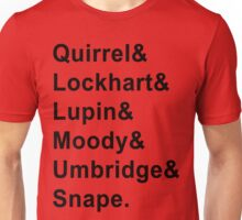Defense Against The Dark Arts Professors Harry Potter Black Writing Jetset Tee Unisex T-Shirt