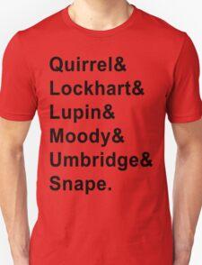 Defense Against The Dark Arts Professors Harry Potter Black Writing Jetset Tee T-Shirt