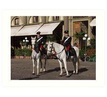 Carabinieri a cavallo in Firenze (Piazza Repubblica) Art Print
