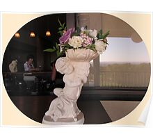 Gorgeous statue and flowers Poster