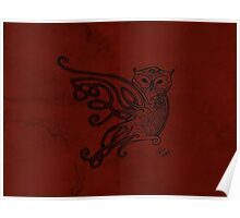 Knotwork Owl Red Poster