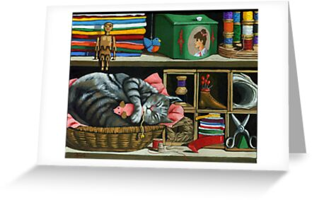 Cat Naps #1 - animal art oil painting by LindaAppleArt