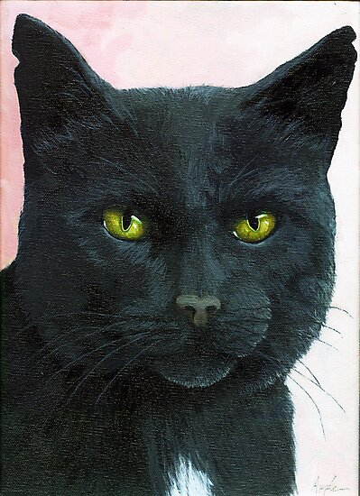 Brambles - Black Cat Oil Painting Portrait by LindaAppleArt