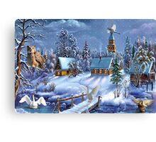 Critter winter scene Canvas Print