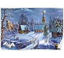 Critter winter scene Poster
