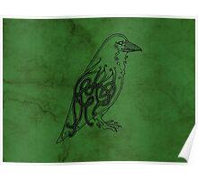 Knotwork Raven Green Poster