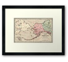 Vintage Map of Alaska and Russia (1869) Framed Print