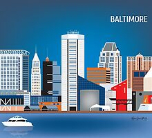 Baltimore, Maryland - Horizontal Retro Style Skyline Illustration from Loose Petals by karenart