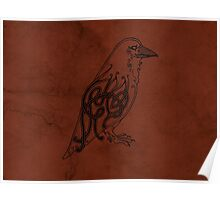 Knotwork Raven Red Poster