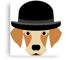Dog Wearing a Bowler Hat Canvas Print