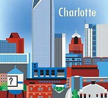 Charlotte, North Carolina - Vertical Retro Style Illustration by Loose Petals by karenart