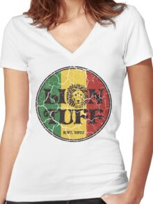 Lion Tuff VNTG CRCL Women's Fitted V-Neck T-Shirt